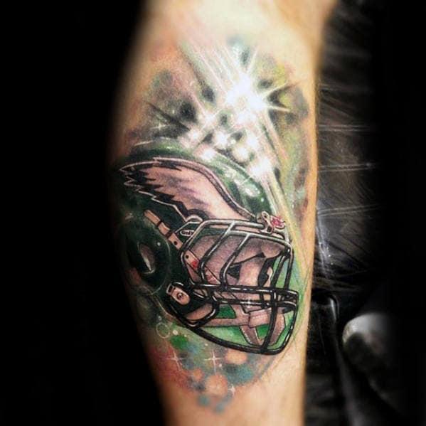 Football Helmet Philiadephia Eagles Guys Leg Tattoos