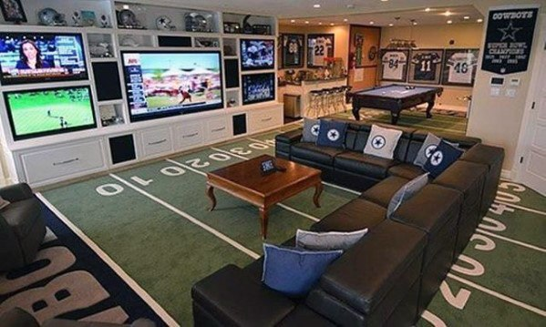 Football Themed Guys Basement Man Cave
