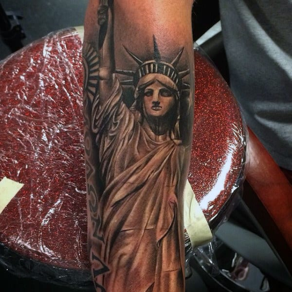 Forarem Sleeve Statue Of Liberty Black Ink Tattoo For Guys