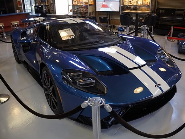 Ford Gt Supercar Blue Paint With White Double Stripe Front