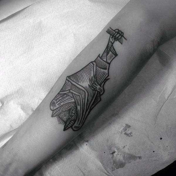 Fore Arm Tattoo Of Bat With Woodcut Design On Mans Forearm