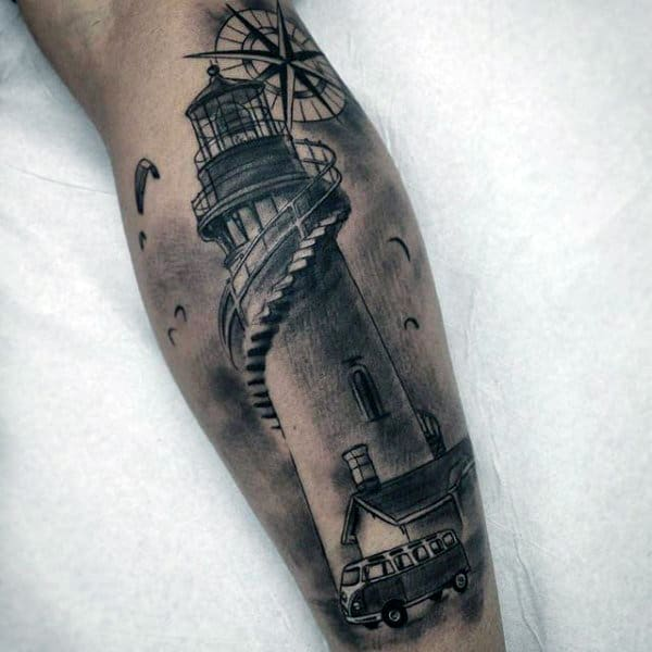 Forearem Lighthouse Tattoo With Compass For Men