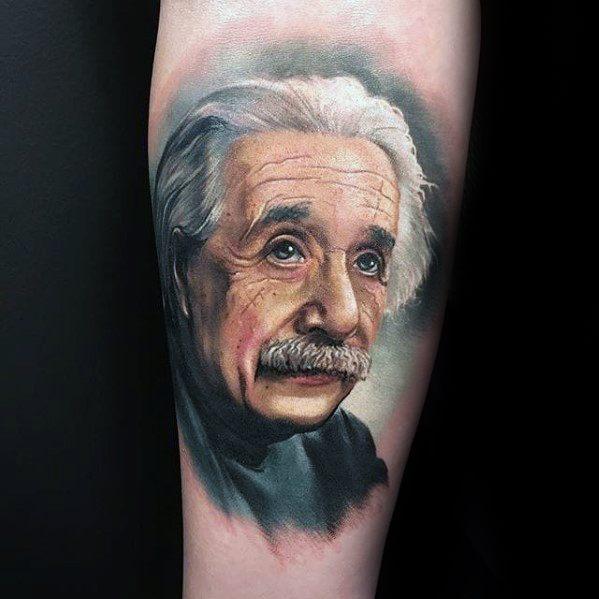 Forearm 3d Albert Einstein Tattoo Design On Man