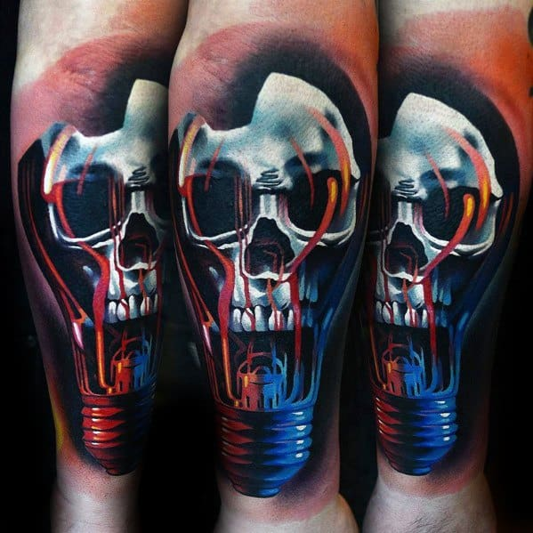 Forearm 3d Badass Lightbulb Skull Mens Tattoo Designs