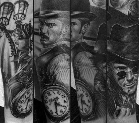 Forearm 3d Hyper Realistic Masculine Sherlock Holmes Tattoos For Men