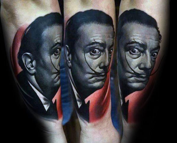 Forearm 3d Hyper Realistic Salvador Dali Guys Tattoo Ideas