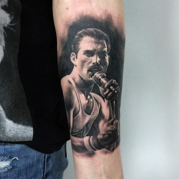 Forearm 3d Male Freddie Mercury Tattoo Designs