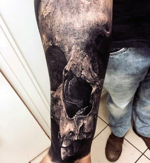 Forearm 3d Male Realistic Shaded Skull Tattoo Ideas