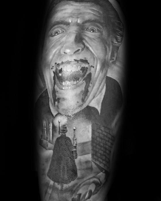 Forearm 3d Realistic Dracula Portrait Guys Tattoo Designs
