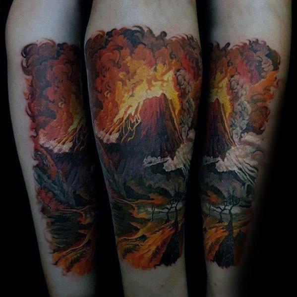 Forearm 3d Volcano Mens Tattoo Designs