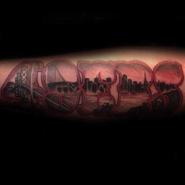 Forearm 49ers City Skyline Outer Forearm Tattoo Designs For Men