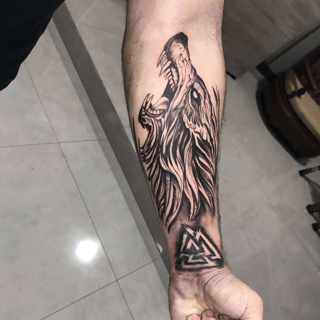 forearm Norse Wolf Tattoos iversonfranklin