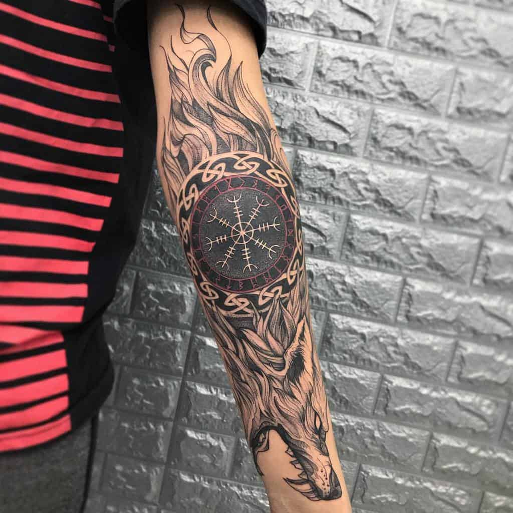 forearm Norse Wolf Tattoos lupptattoo