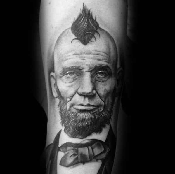 Forearm Abraham Lincoln With Mohawk Tattoos For Gentlemen