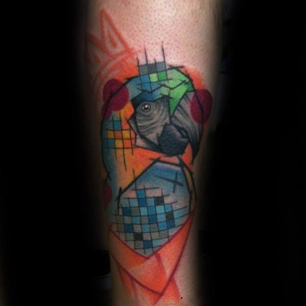 Forearm Abstract Art Mens Parrot Tattoo