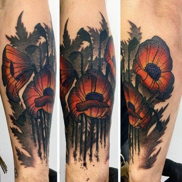 Forearm Abstract Watercolor Mens Poppy Tattoo