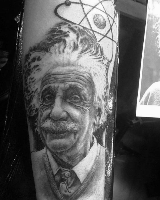 Forearm Albert Einstein Portrait Male Tattoos