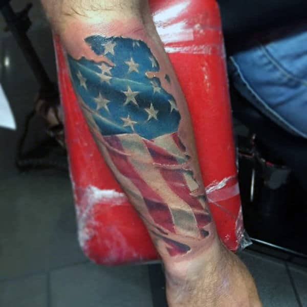 Forearm American Flag Tattoo On Man
