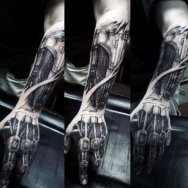 Forearm And Hand Mens Exposed Cyborg Machinery Terminator Tattoo
