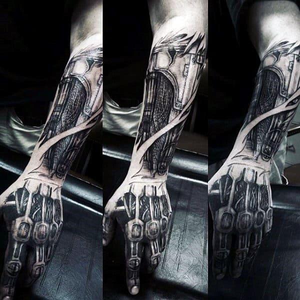 Forearm And Hand Mens Exposed Cyborg Machinery Terminator Tattoo