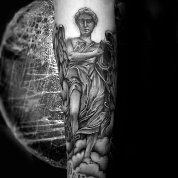 Forearm Angel Statue Tattoo Designs For Guys