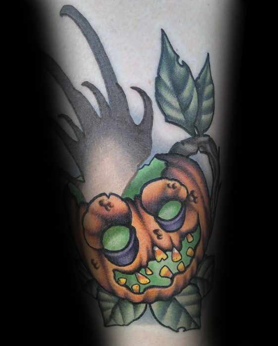 Forearm Artistic Male Coffee Cup With Pumpkin Theme Tattoo Ideas