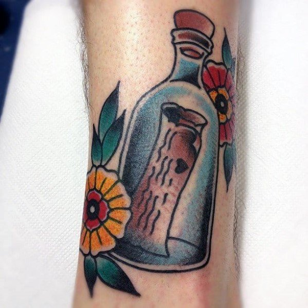 Forearm Awesome Ink Message In A Bottle Tattoos For Men