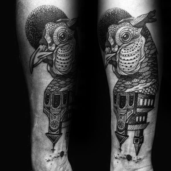 Forearm Awesome Ink Pheasant Bird With Church Building Tattoos For Men