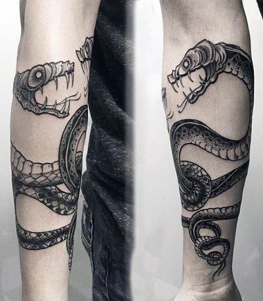 Forearm Aztec Snake Tattoo For Men