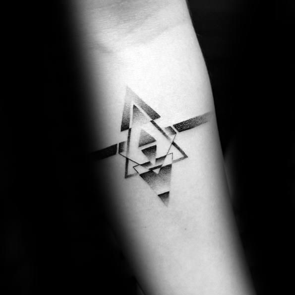 a1114a7d1 Forearm Band Dotwok Shaded Male Tattoo With Small Geometric Design