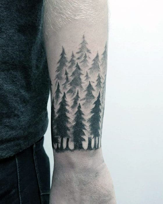 Forearm Band Guys Small Pine Tree Forest Tattoo Designs