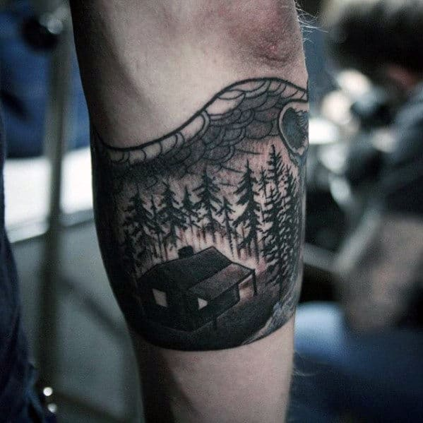 Forearm Band Mens Cabin In The Woods Tattoo Designs