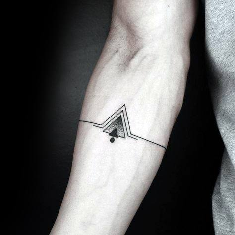 Forearm Band With Triangles Geometric Guys Tattoo Ideas