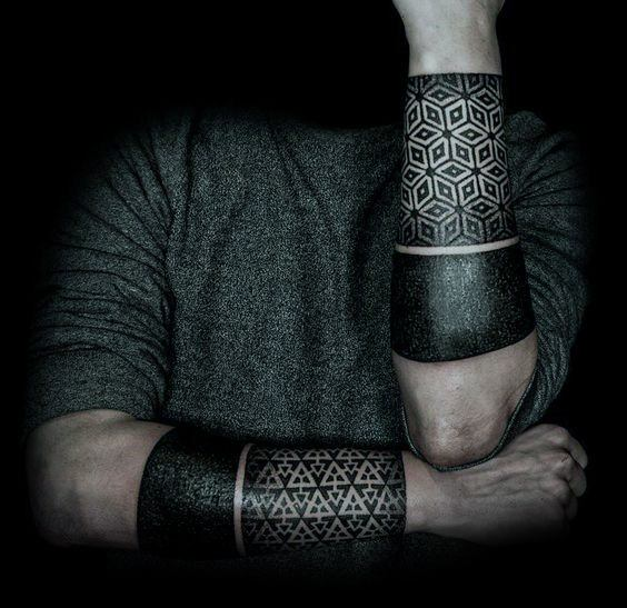 Forearm Bands With Geometric Pattern All Black Ink Tattoos For Guys