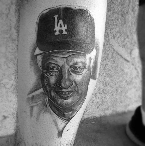 Forearm Baseball Coach Portrait Artistic Male Dodgers Tattoo Ideas