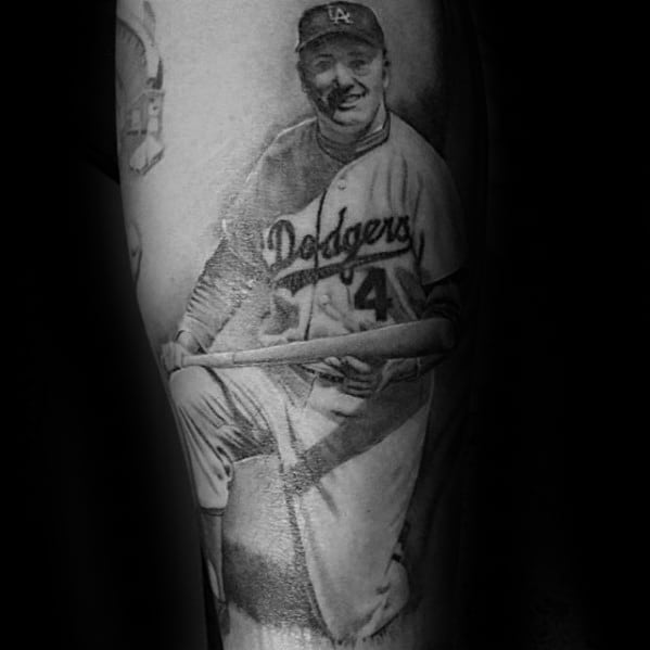 Forearm Baseball Player Dodgers Mens Tattoo Ideas