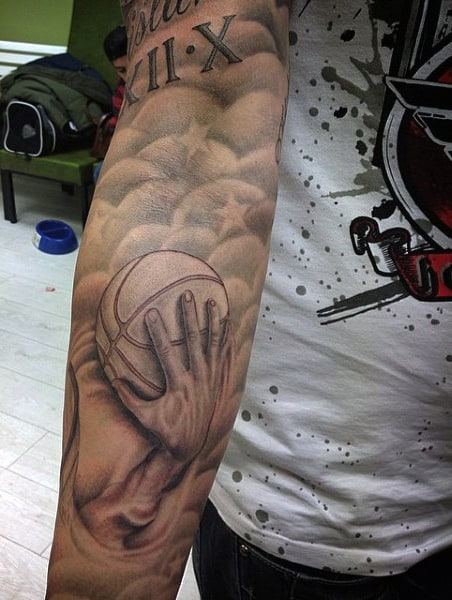 Forearm Basketball Hand Tattoo On Men