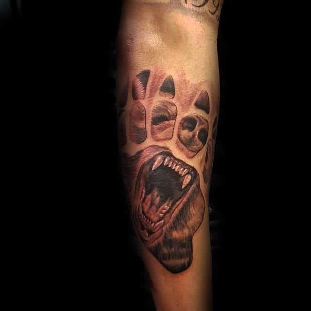 Forearm Bear Claw Male Tattoos