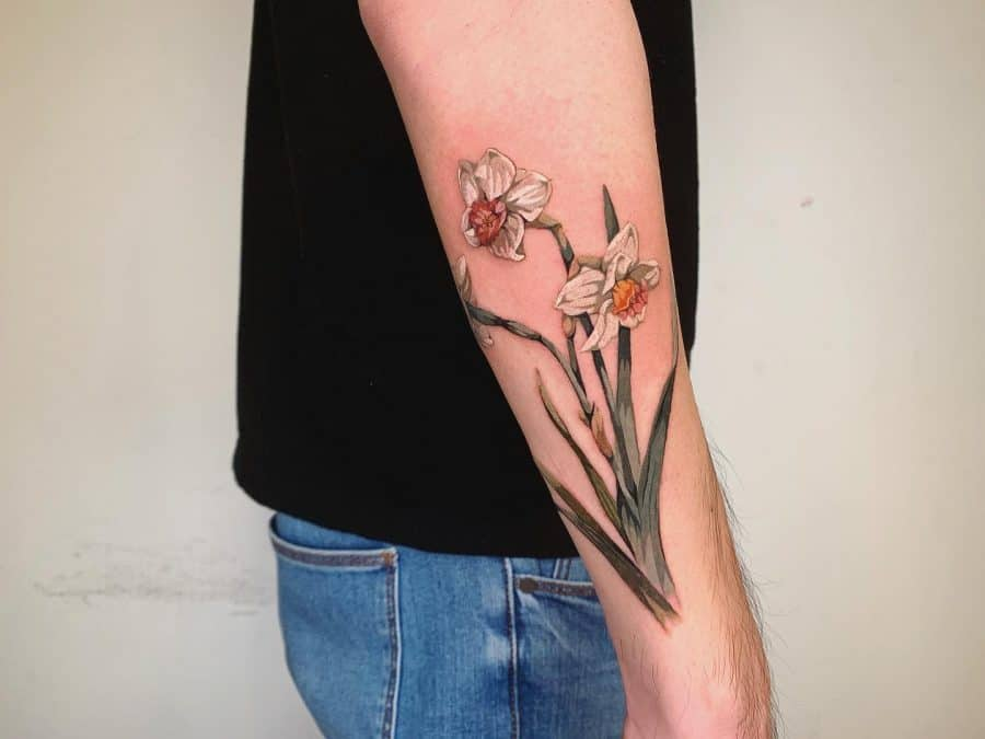 Forearm Beautifully Colored Realistic White Ink Daffodils Green Plant Color Tattoo
