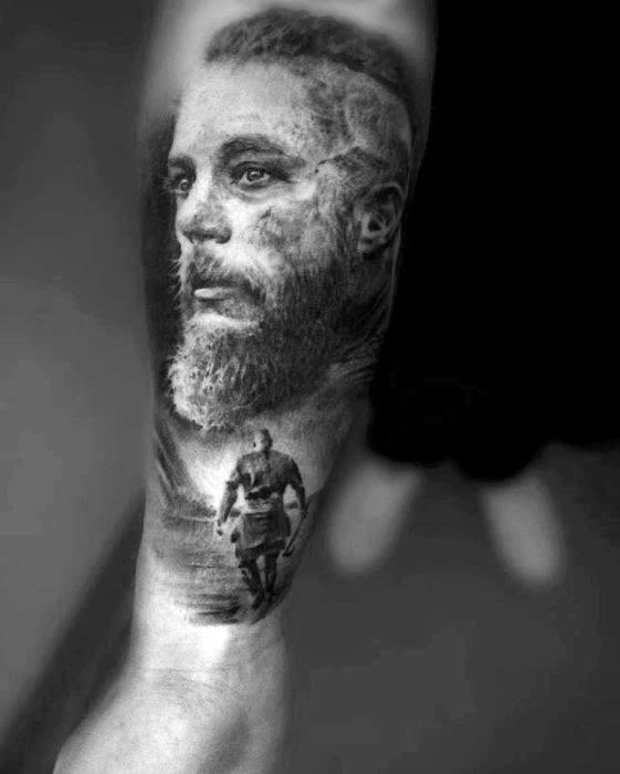Forearm Black And Grey Ragnar Male Tattoos