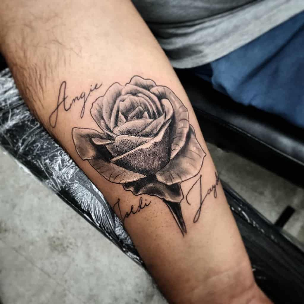 forearm black and grey rose tattoos tiagotargacampos