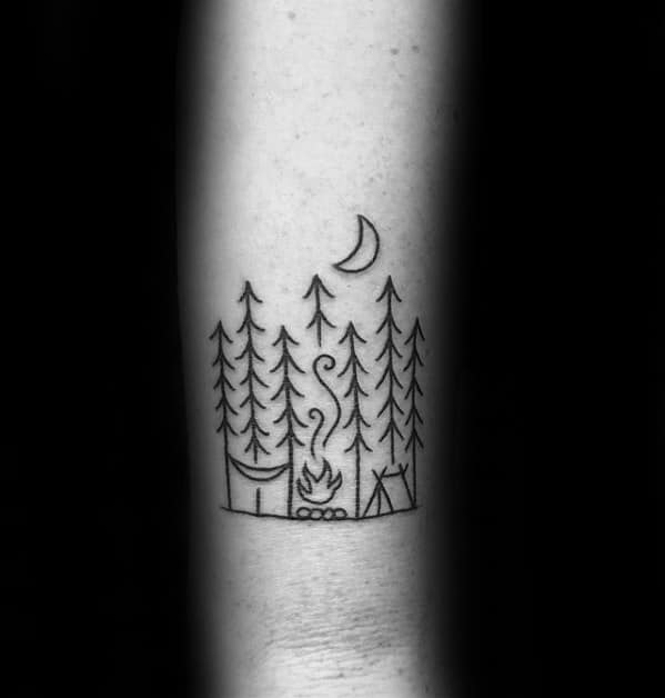 Forearm Black Ink Minimalistic Camping Tattoos Men
