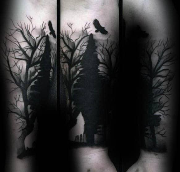 Forearm Black Ink Silhouette Tree Tattoo On Male