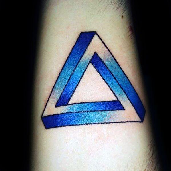Forearm Blue Ink Penrose Triangle Male Tattoo Ideas