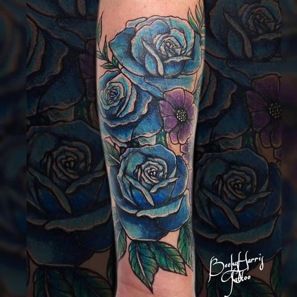 forearm blue rose tattoos beckyharristattoo