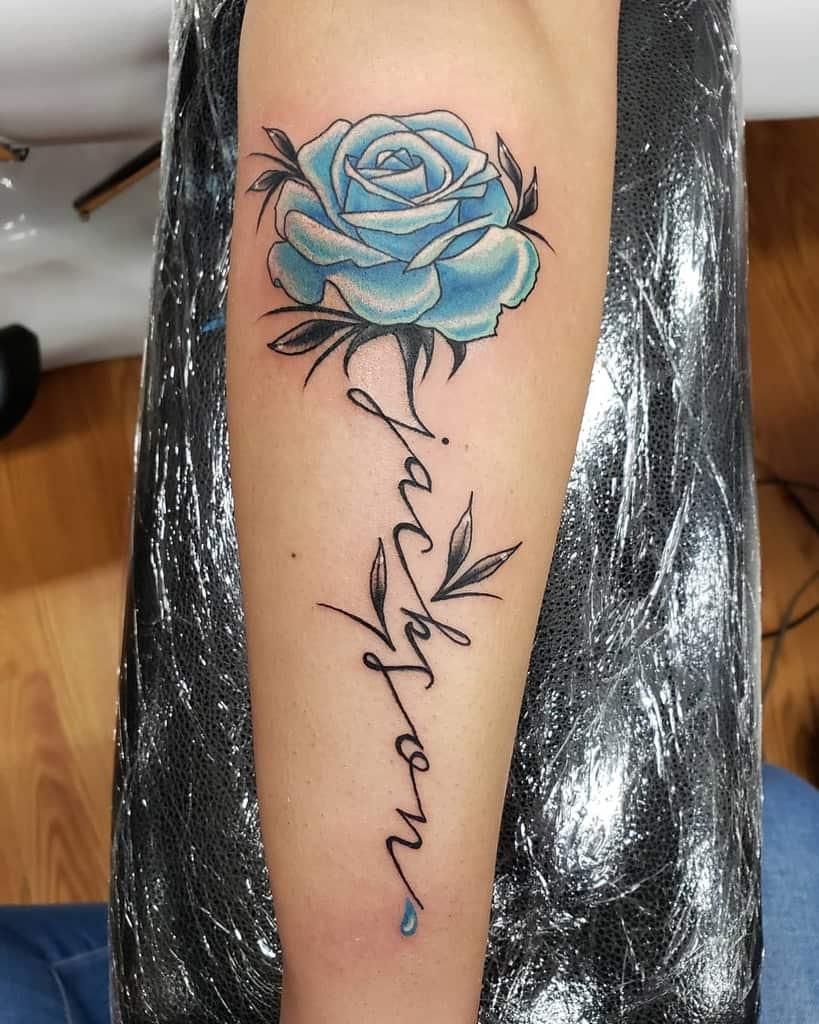 forearm blue rose tattoos bryncooper