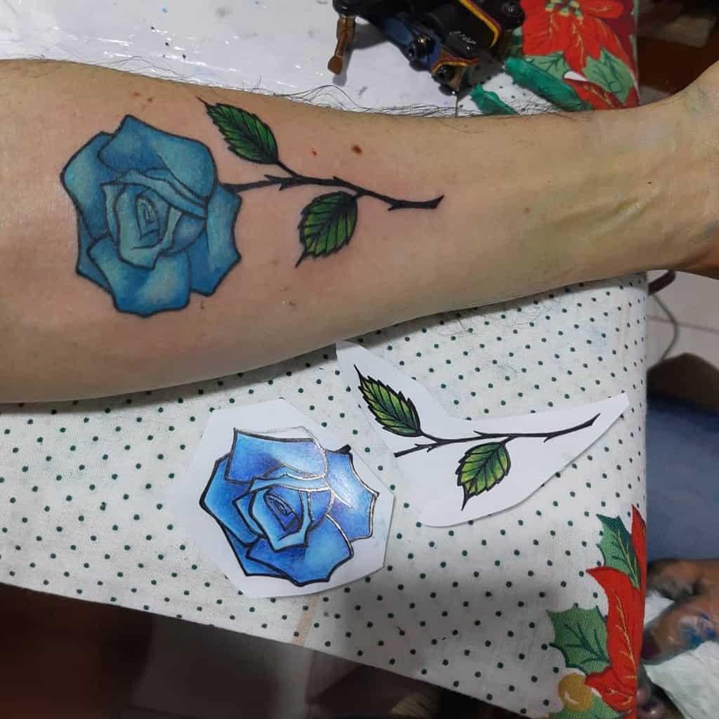 forearm blue rose tattoos flaviocdemello