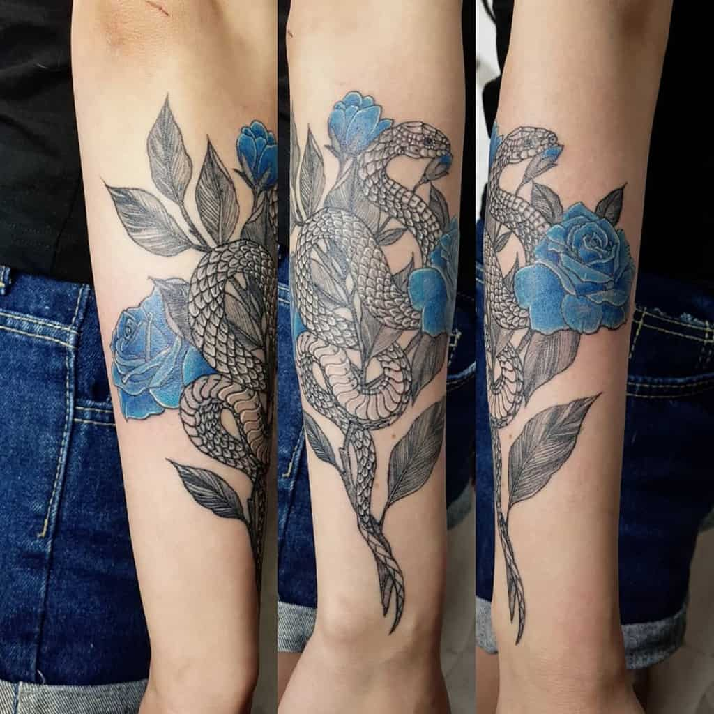 forearm blue rose tattoos ho_tattoo