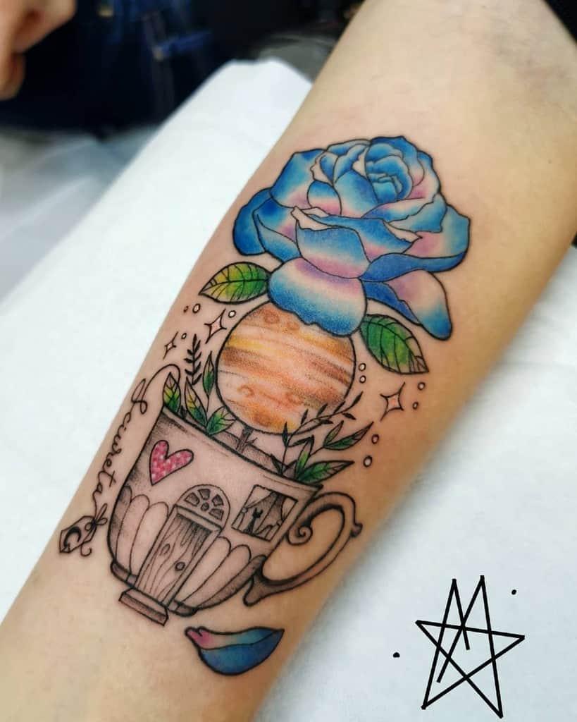 forearm blue rose tattoos la.noddola.tatuata