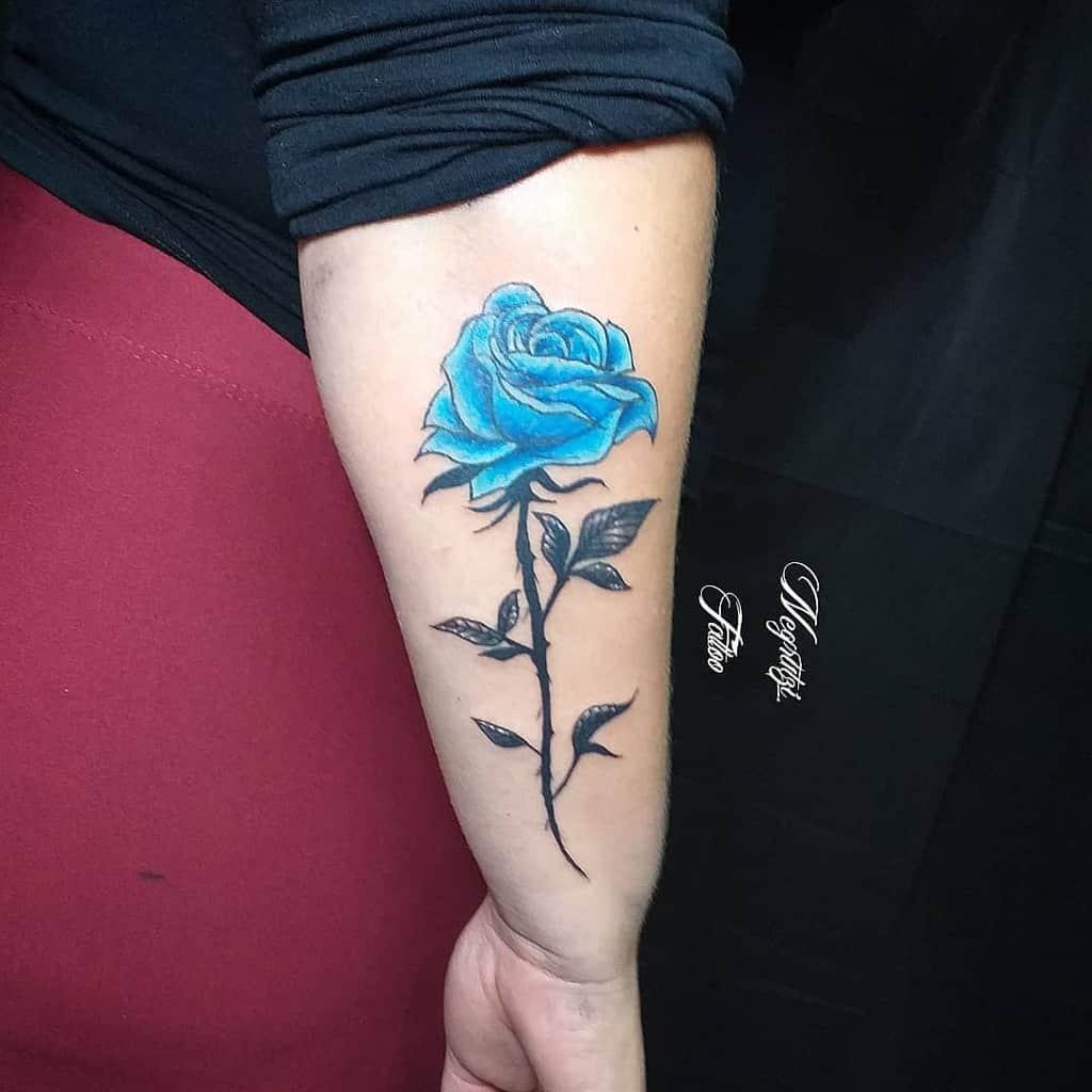 forearm blue rose tattoos negrutzi_tattoo